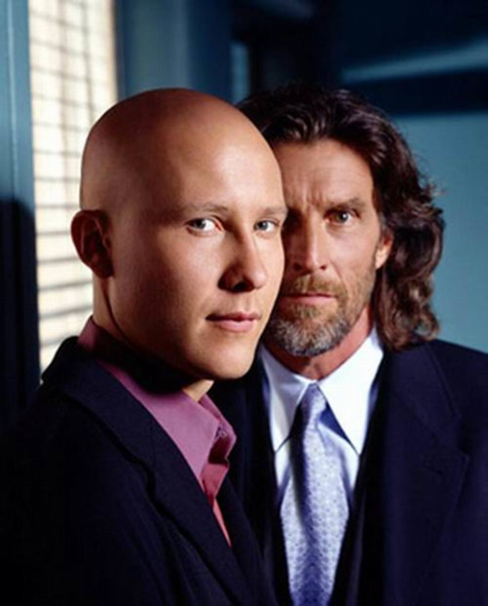 Michael Rosenbaum and John Glover in Smallville