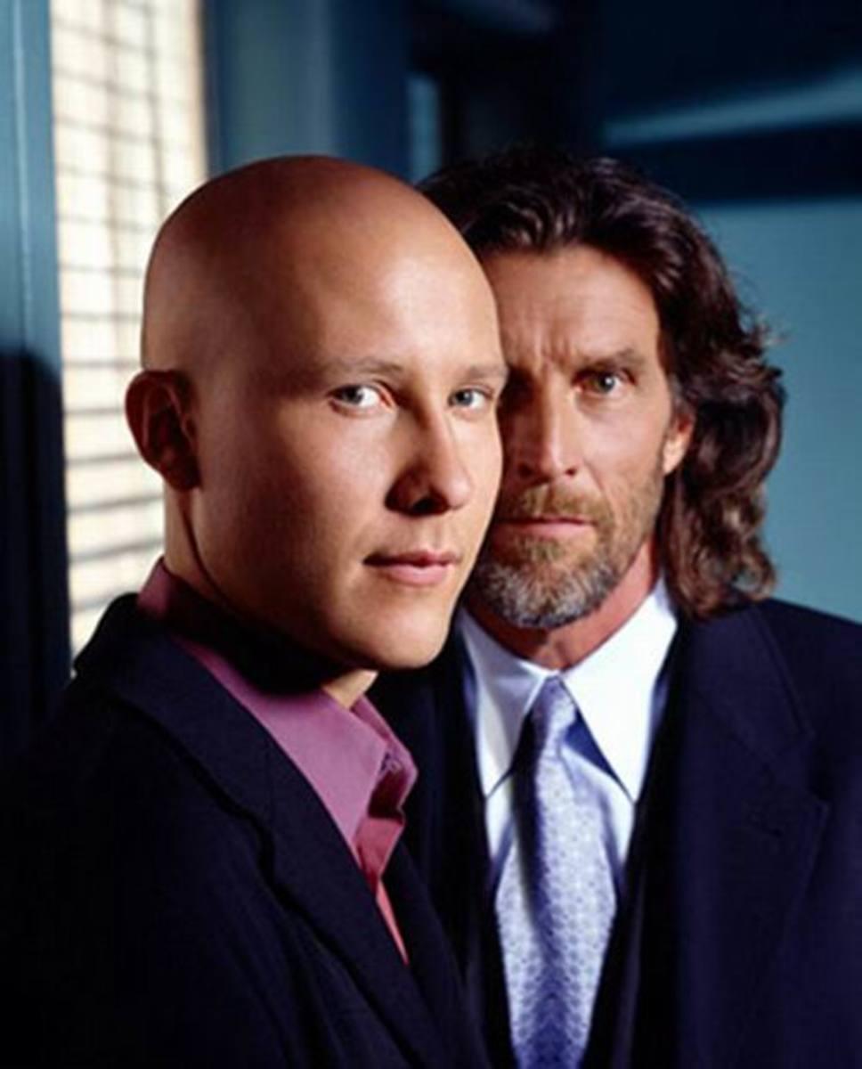 Michael Rosenbaum and John Glover in Smallville