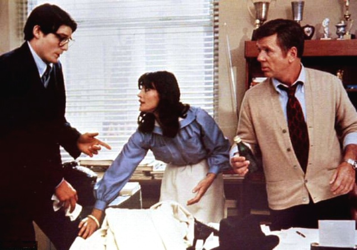 Christopher Reeve, Margot Kidder and Jackie Cooper in Superman the Movie (1978)