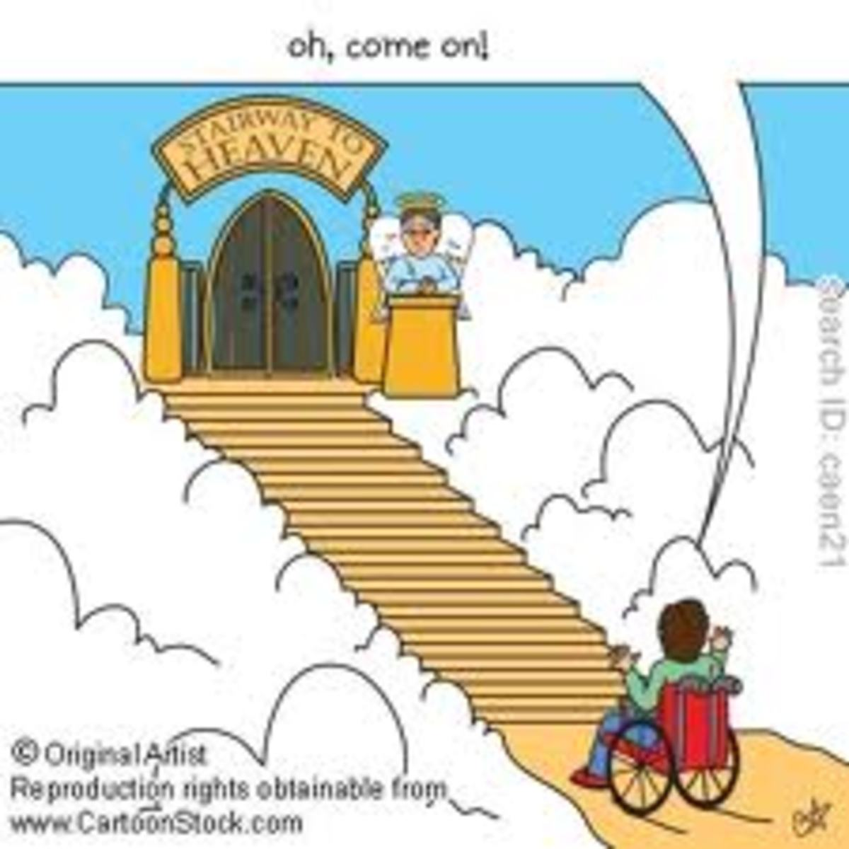 Cartoon of our imaginary afterlife, showing that we all would like to go on the stairways to heaven. But it is not all that simple, because first of all we should be ready and worthy to be allowed to go up.