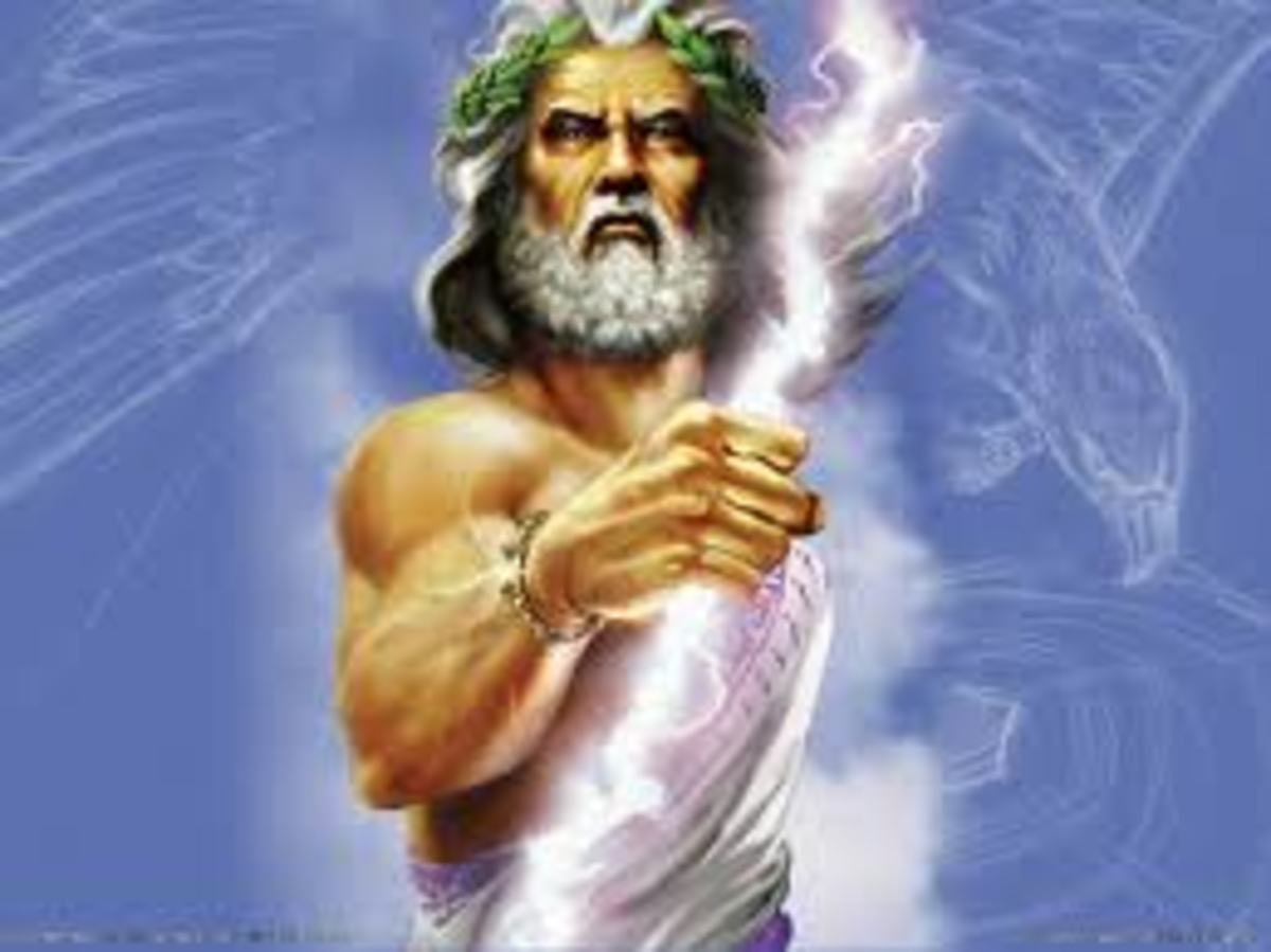 This is the ancient god Jupiter in the Greek mythology he is the king of the gods.