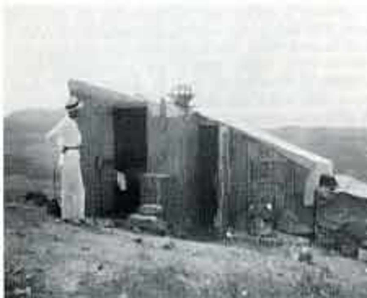 Charles Greeley Abbott in front of the shelter he and Angstrom used during the 1912 expedition in Bassouj, Algeria.