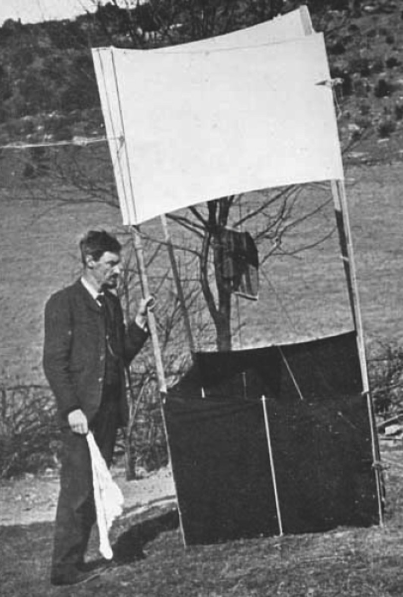 W.H. Dines, preparing to make a kite observation.