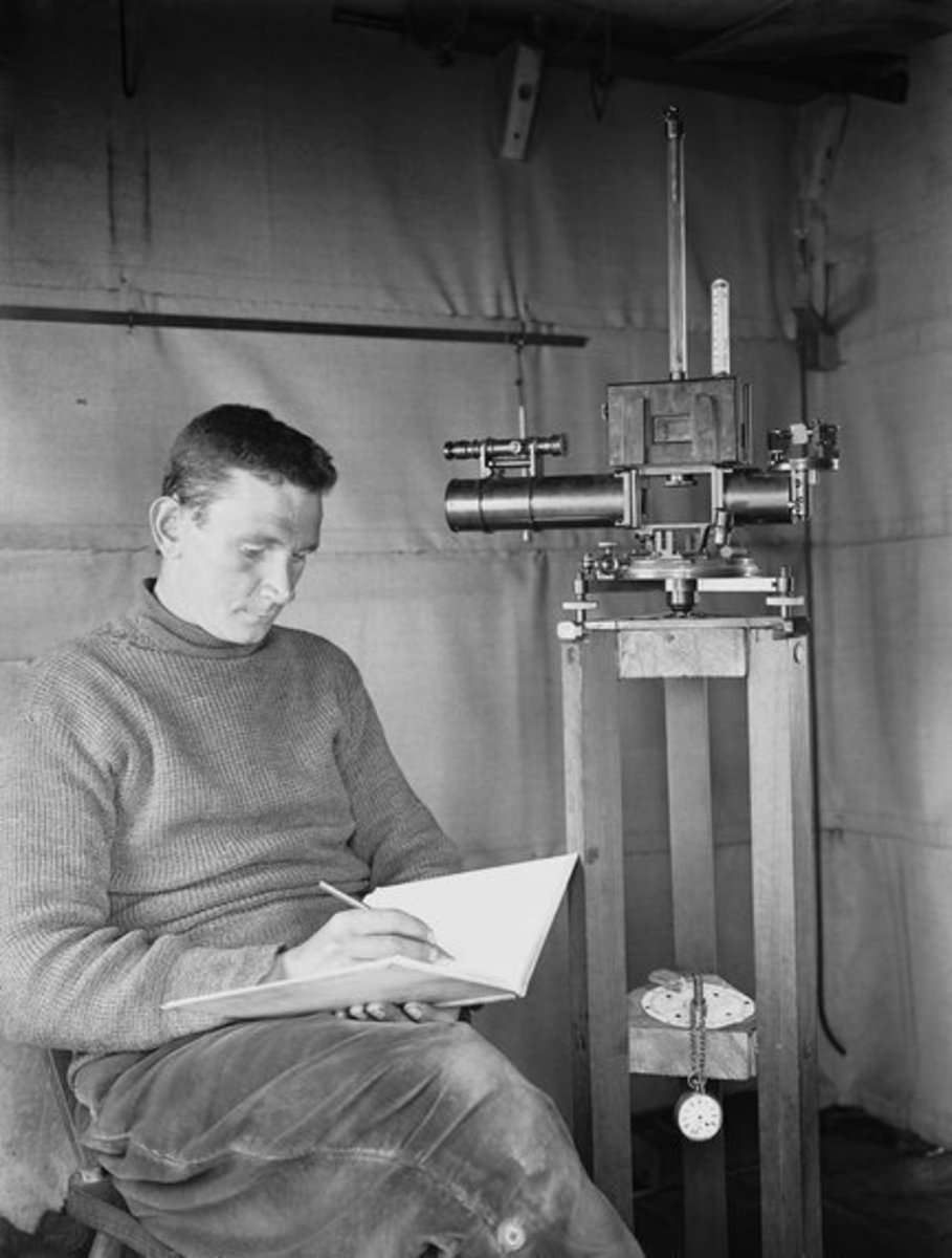 Sir George Simpson--pre-Knighthood--recording observations in 1911.  Simpson had famously accompanied Scott to Antarctica as meteorologist.