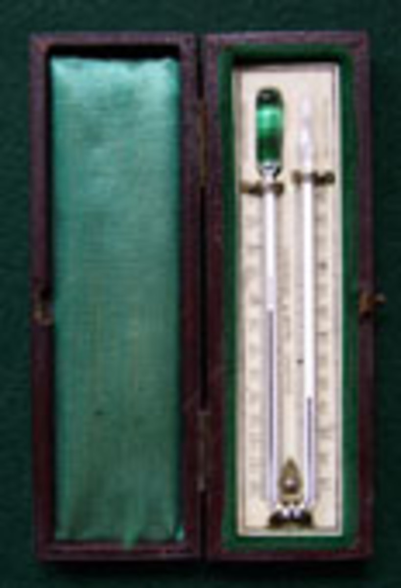 "An antique thermometer, marked in the ""Reaumur"" scale used by Pouillet in the 1830s."
