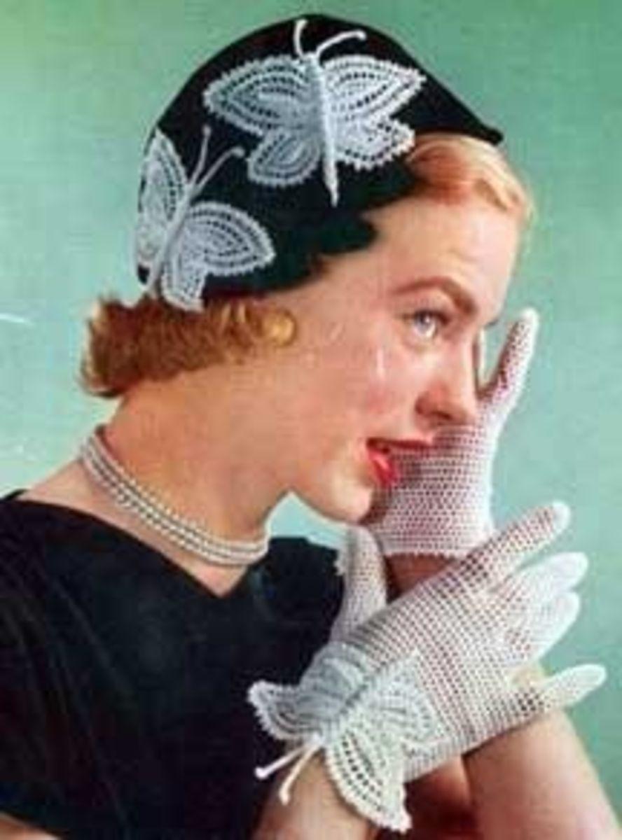 Crochet gloves - believed public domain image.