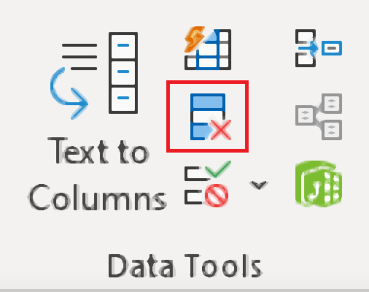 The above illustration shows the many spreadsheet data tools available in the data tools section of the data tab. The remove duplicates tool stands out with a red square around it depicting a column with an x on it.