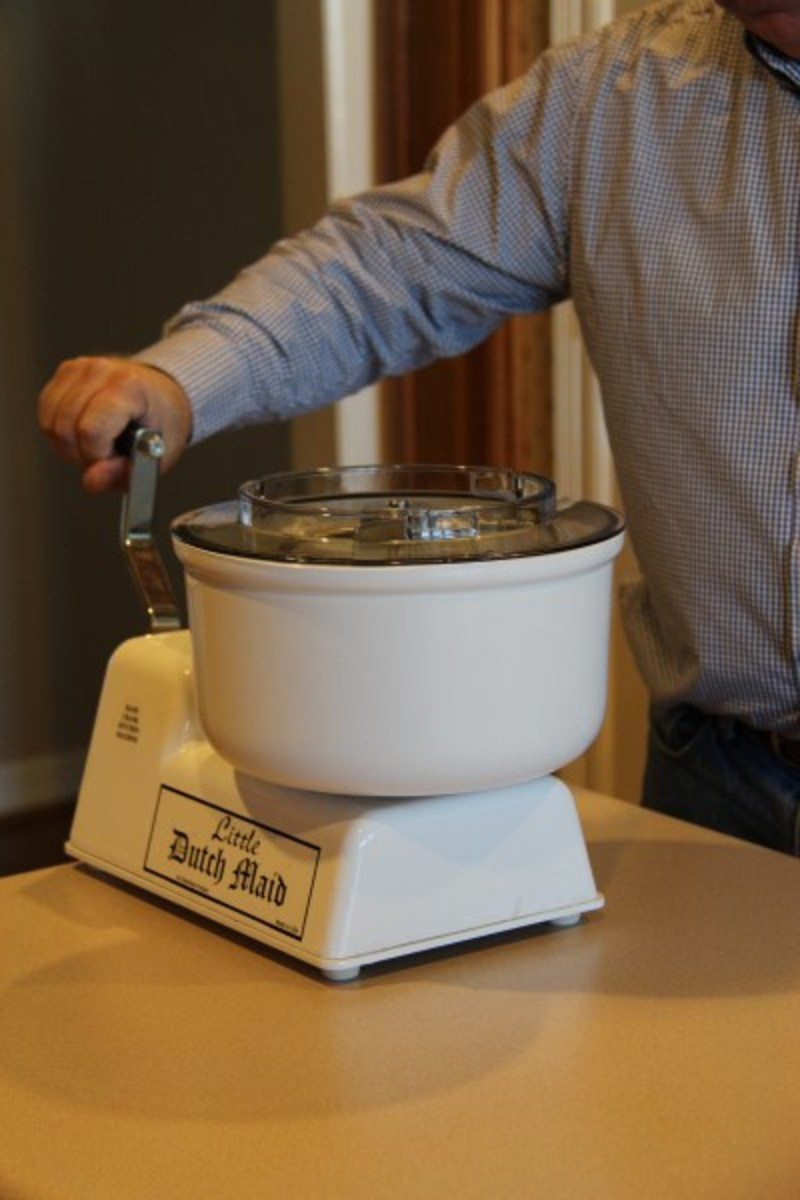 Amish made hand crank Little Dutch Maid Mixer uses Bosh Universal Mixer attachements