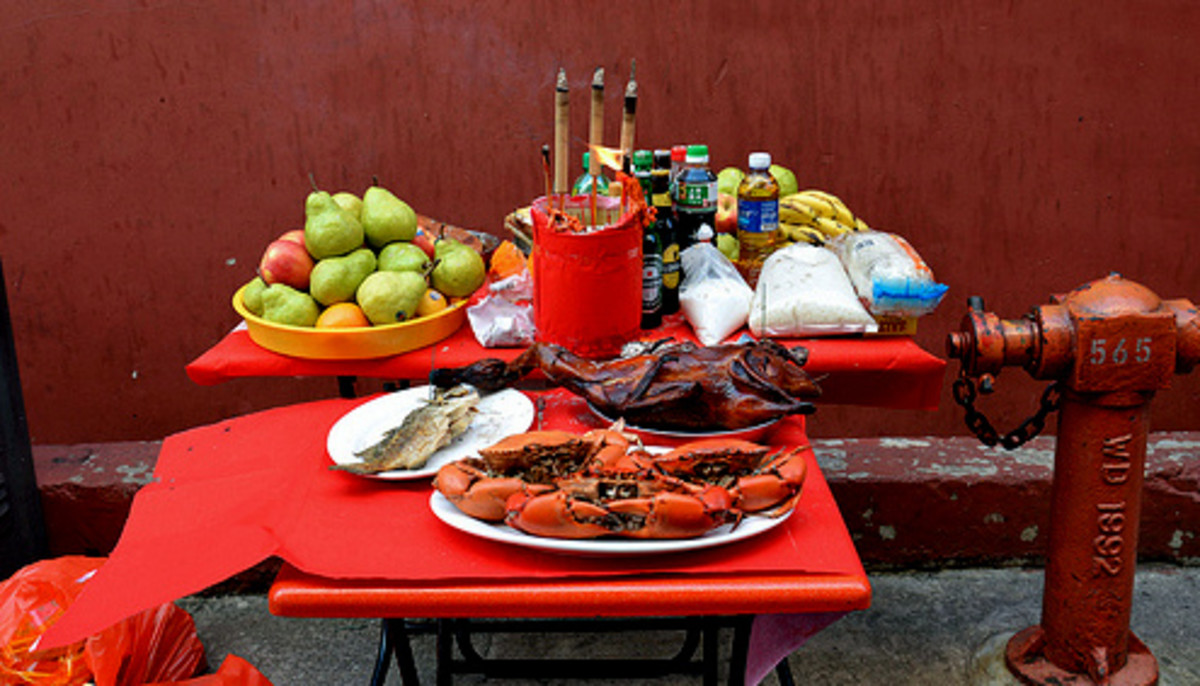 Food offerings to a hungry ghost during the Hungry Ghost Festival