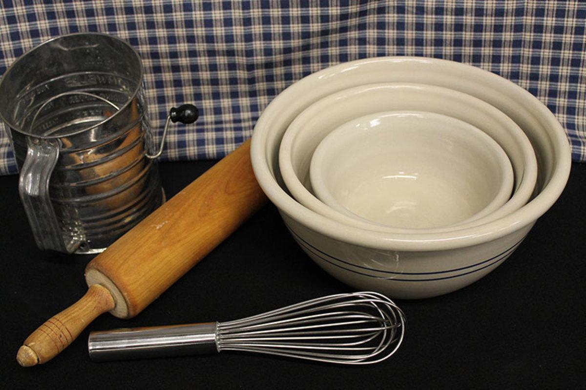 Reproduction pottery blue stripe bowls.