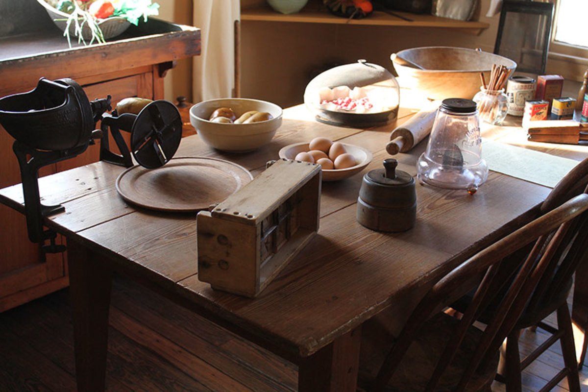 Kitchen work tables were used instead of counter tops.  Kitchen gadgets were clamped to table tops.