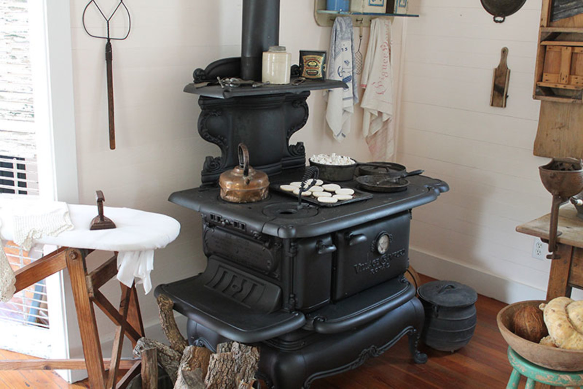 Wood cook stoves used in vintage kitchens.  Many kitchens were built separate of the house as kitchens often caught fire.