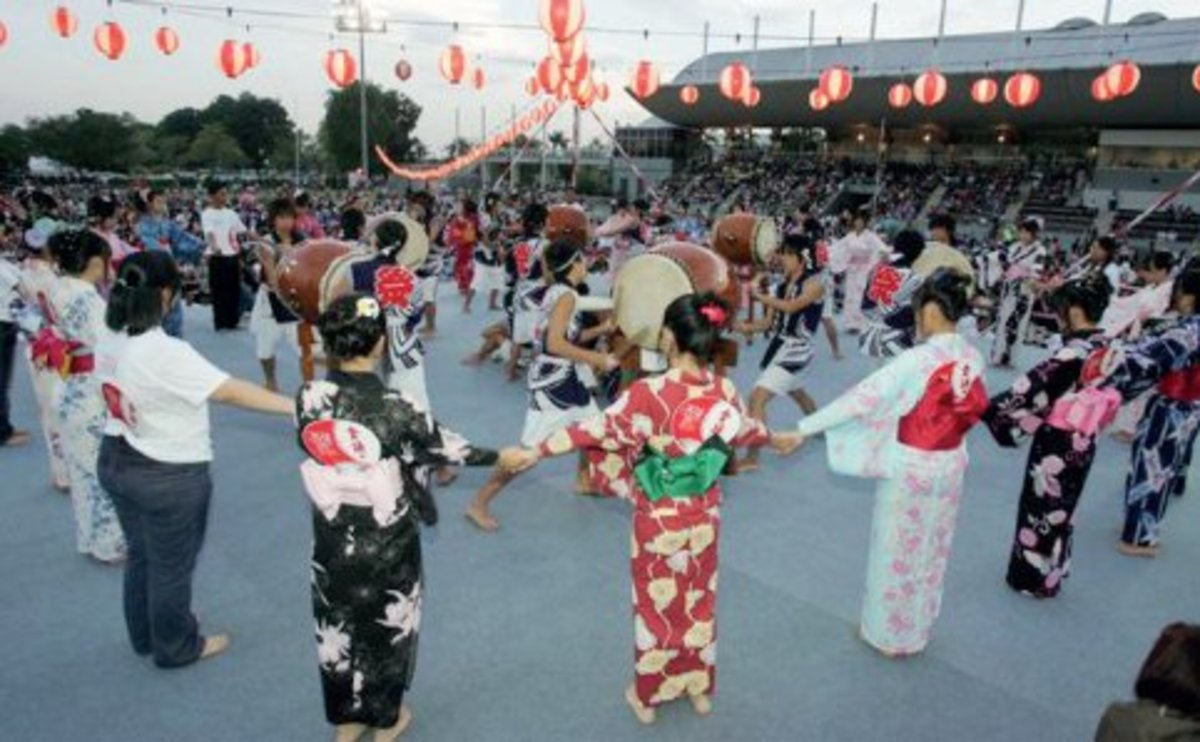 Malaysians participating in the Japanese festival, Bon Odori in Selangor
