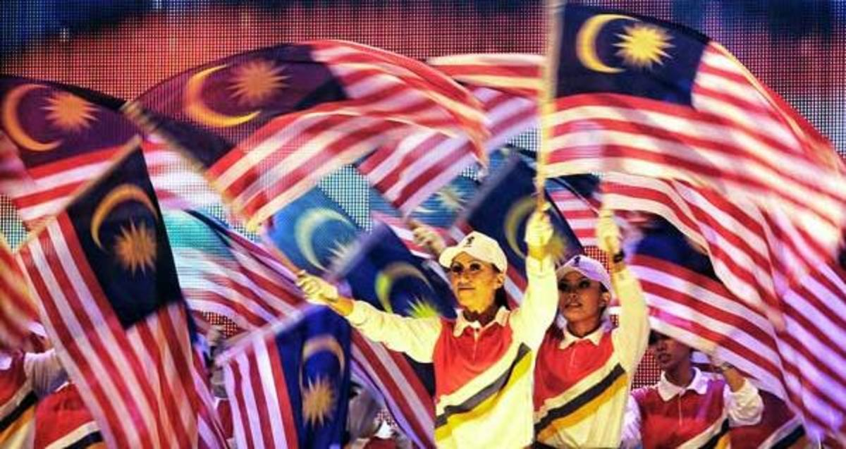 Colorful parade during Malaysia Day celebration