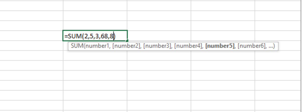 In the above illustration, the SUM function is used to sum numbers where the are numbers entered directly into the formula of the function and separated by commas. .