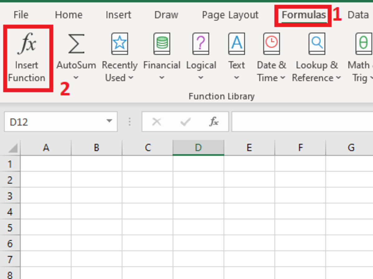 The above illustration shows where to find the insert function button on the Excel ribbon found under the formulas tab.