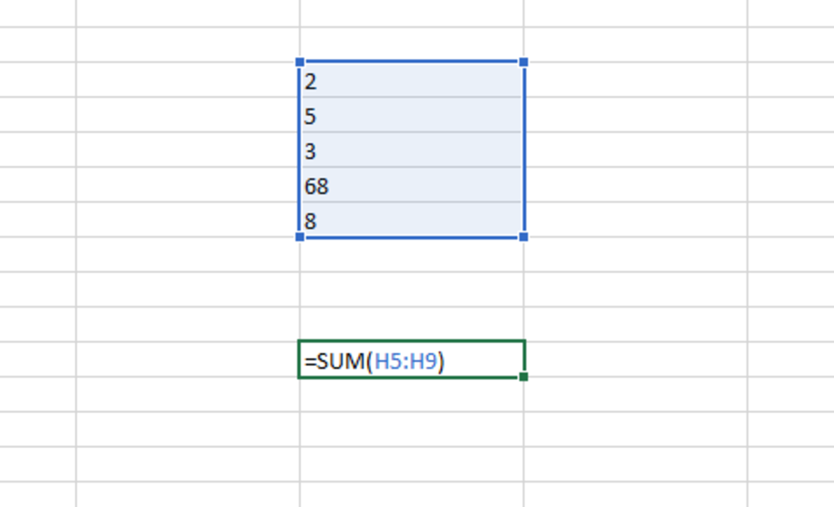 In the above illustration the SUM function is used to sum numbers that are aligned in a vertical range. The position of the range is represented by the first cell followed by a colon and the last cell of the range.