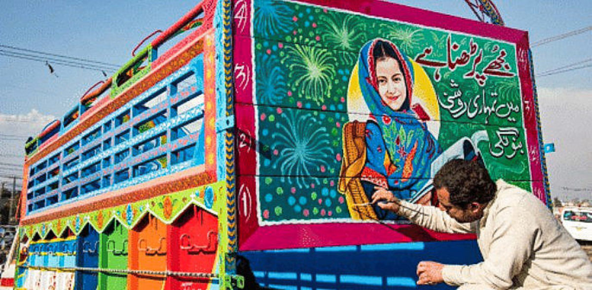 Trucks creating awareness regarding women's rights.