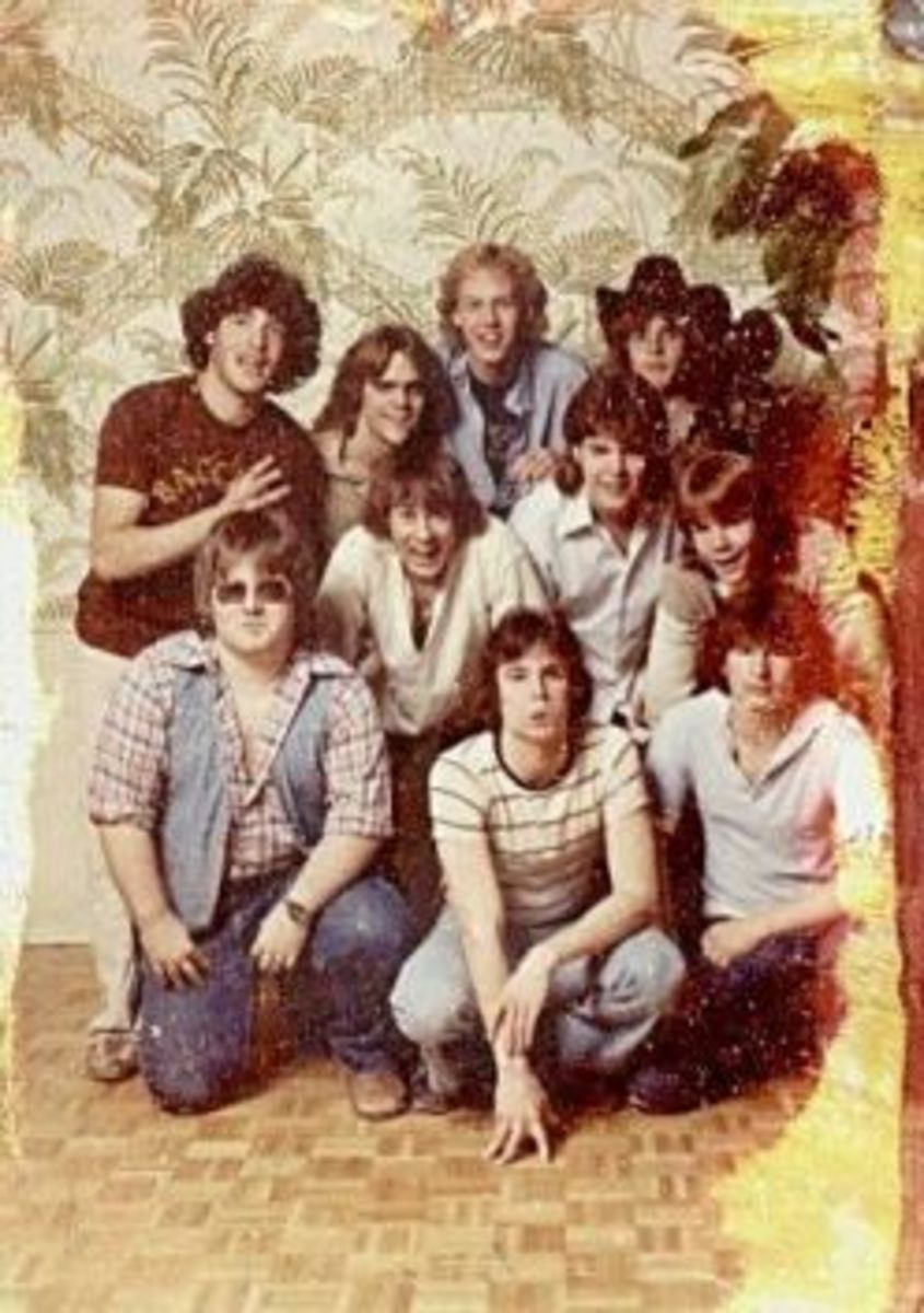 "Dave (making a funny face) pictured front and center with his long time band, ""Bacchus."""