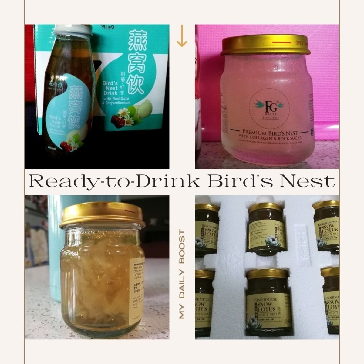 Some of the ready to drink bird's nest that I have tried including Royal Bird's Nest that claimed to use cave bird's nest