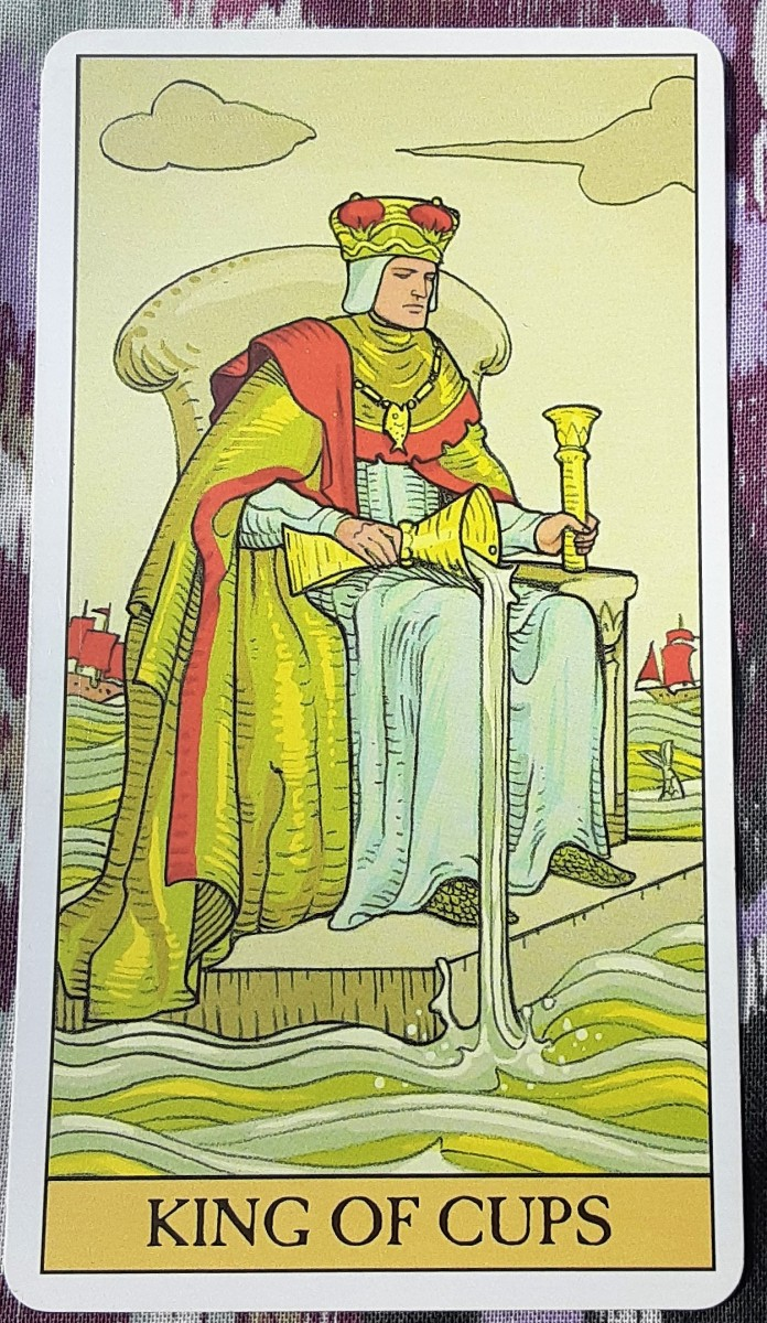 The King of Cups is compassionate, intuitive, and seeks healthy relationships. He isn't easily swayed by others. He is independent and confident.