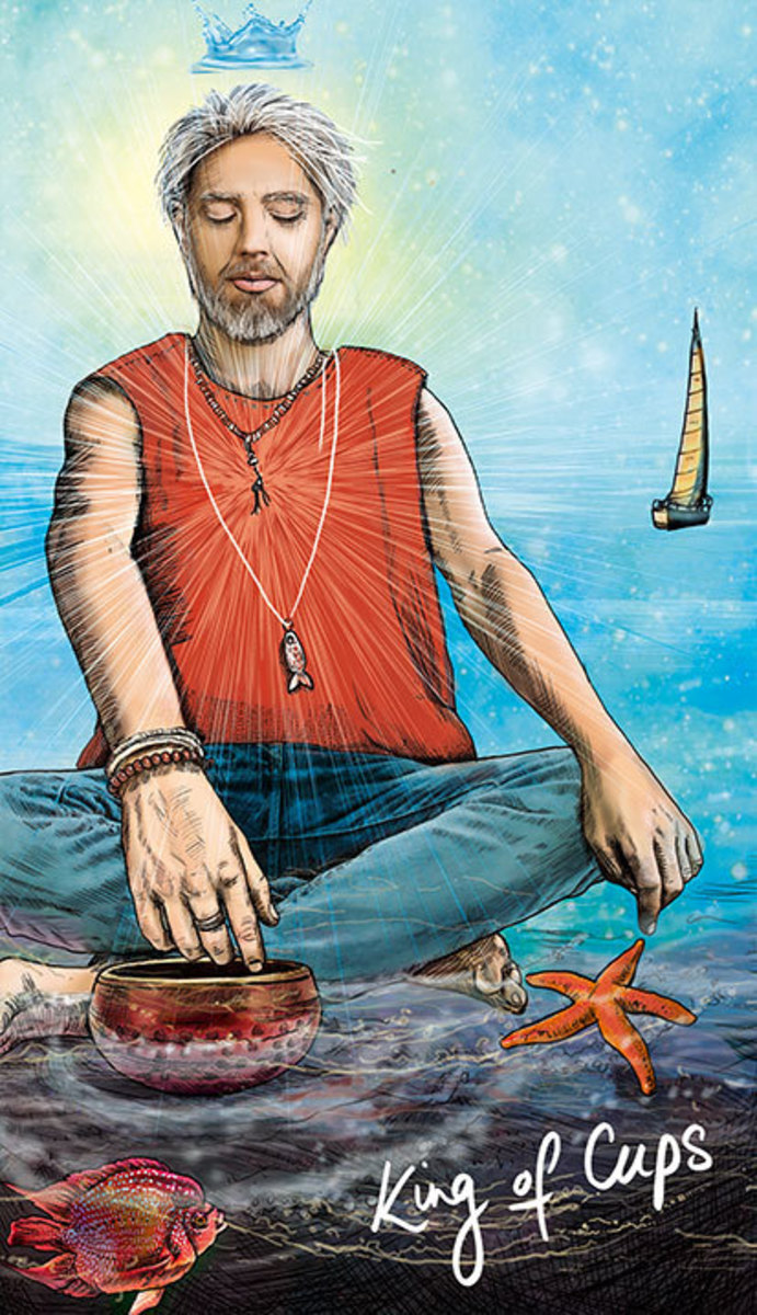 The King of Cups has an excellent relationship with himself, therefore he can have and support good relationships outside of himself.