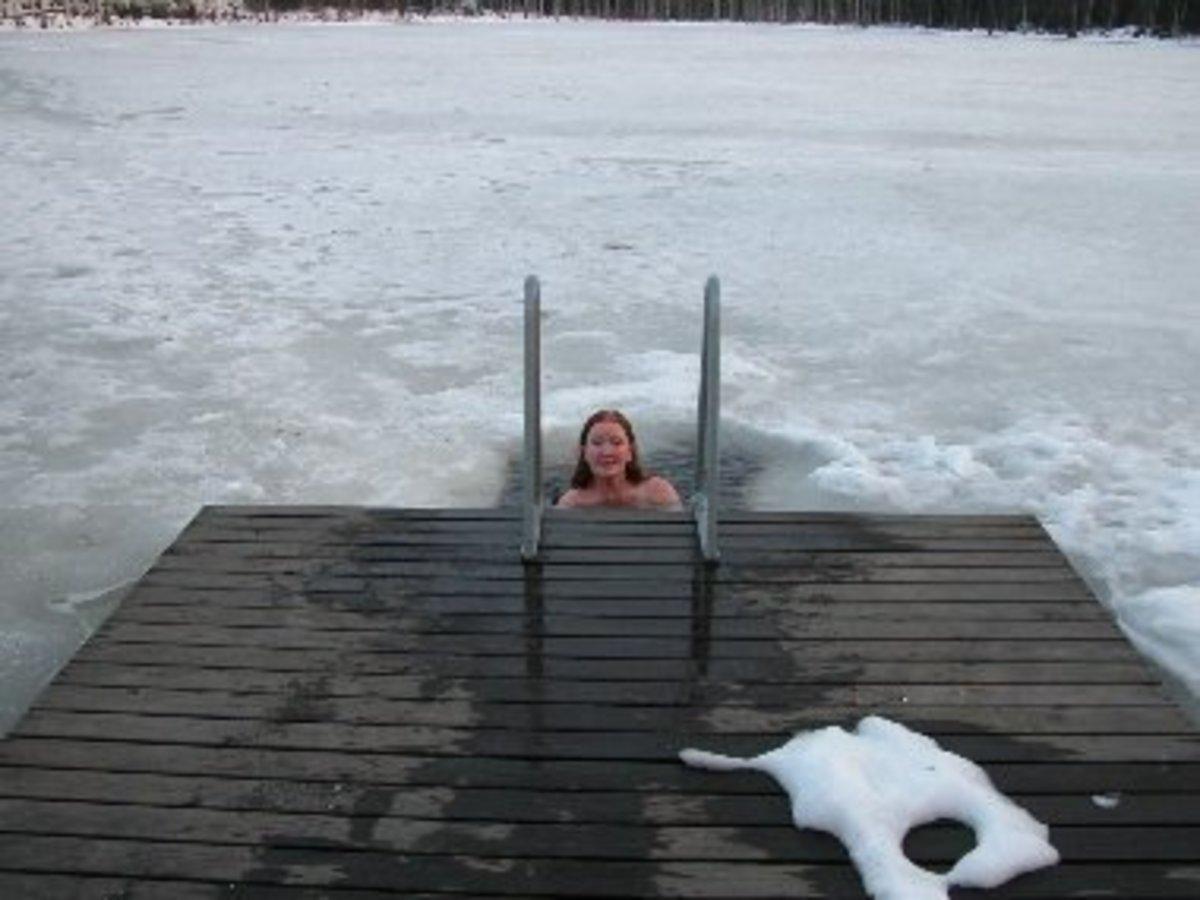 Taking A Dip Through The Ice During A Sauna