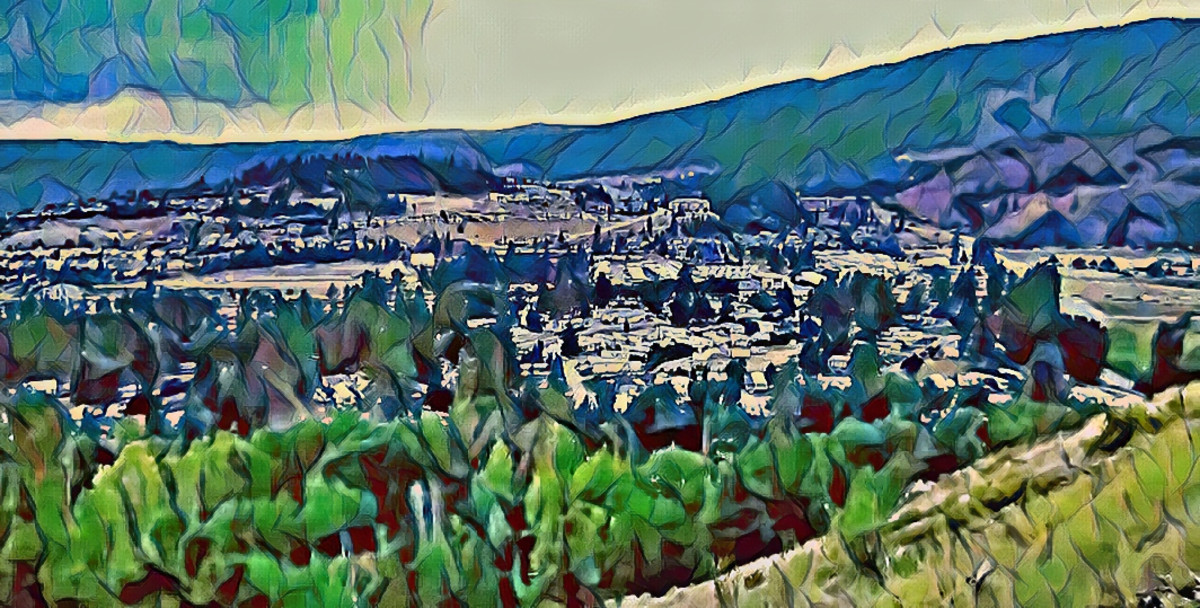 """A still from a video taken from a viewpoint on Mount Boucherie. Artistic style added using Befunky software. Done in """"pastel"""" style."""