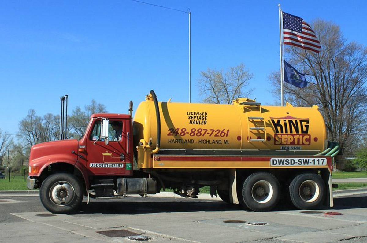 If you have to call a septic tank pumping company this is the kind of truck they will use to pump out the tank