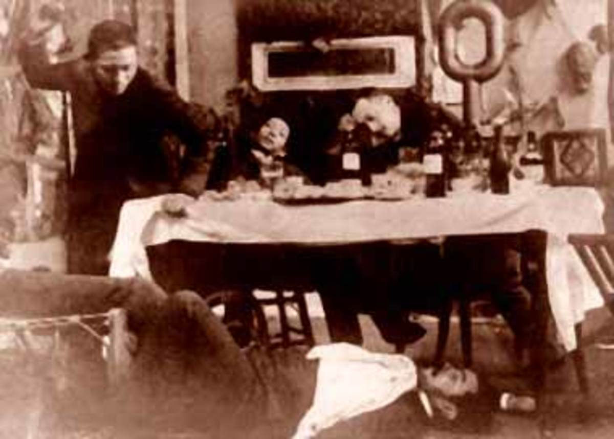 The drunken Rizal (left) and his friends.