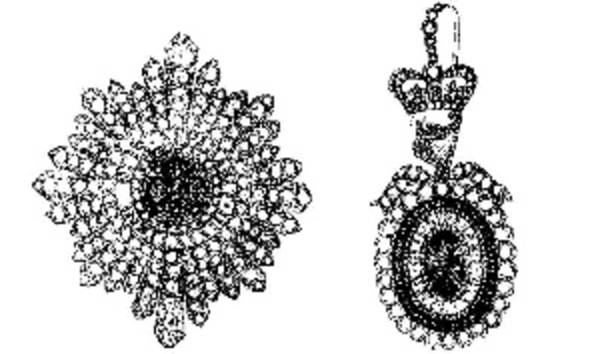 The illustration of the star and badge of the Irish regalia released by the police in July 1907.
