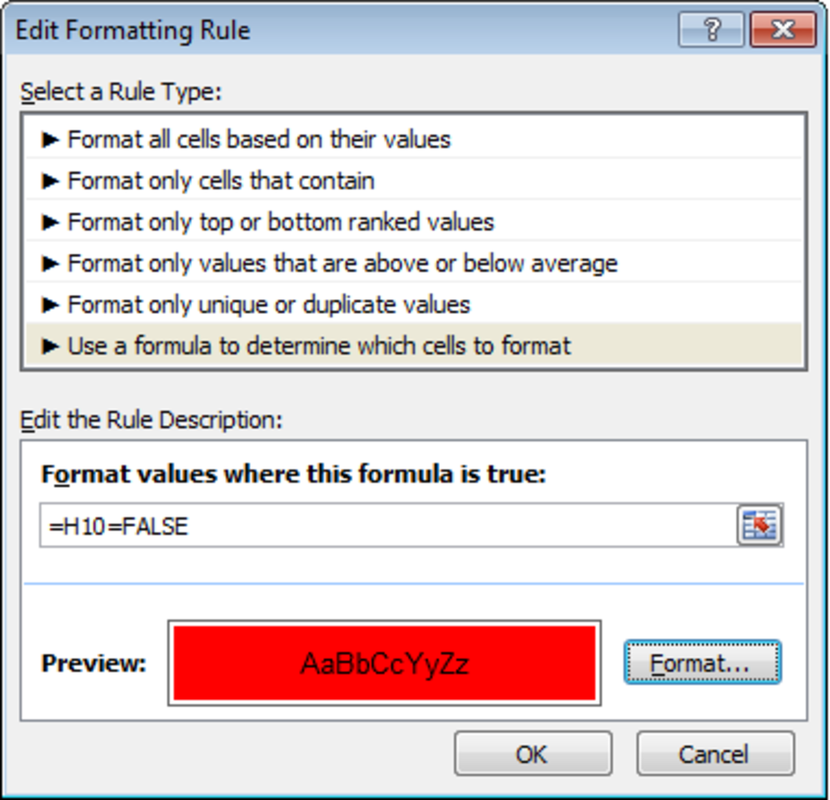 How to configure Conditional Formatting using a formula in Excel 2007 or Excel 2010.