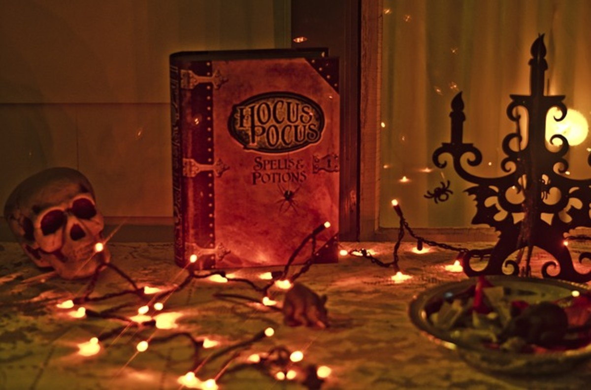 Book of magic spells display for Halloween.