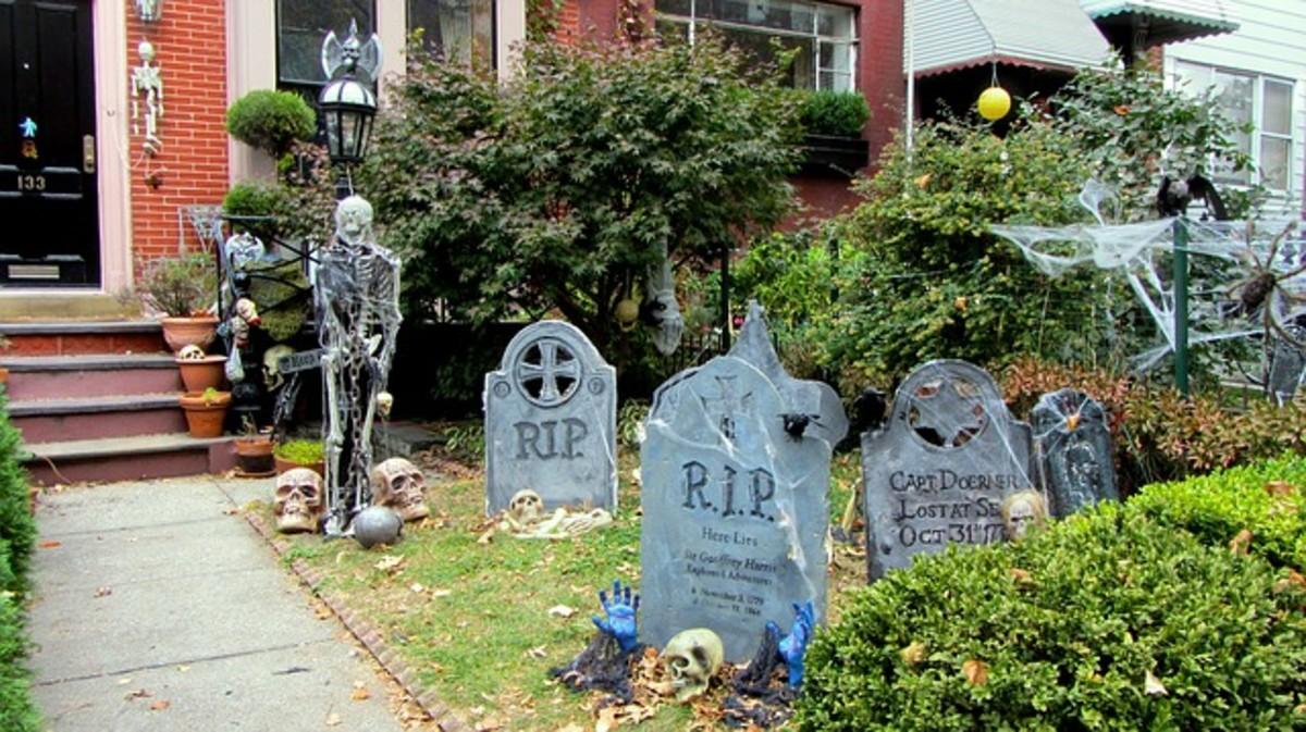 Spooky Halloween graveyard in the front yard.