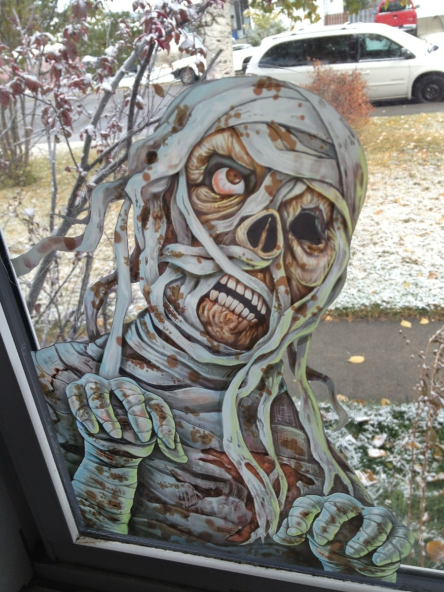 Mummy peaking in our living room window.