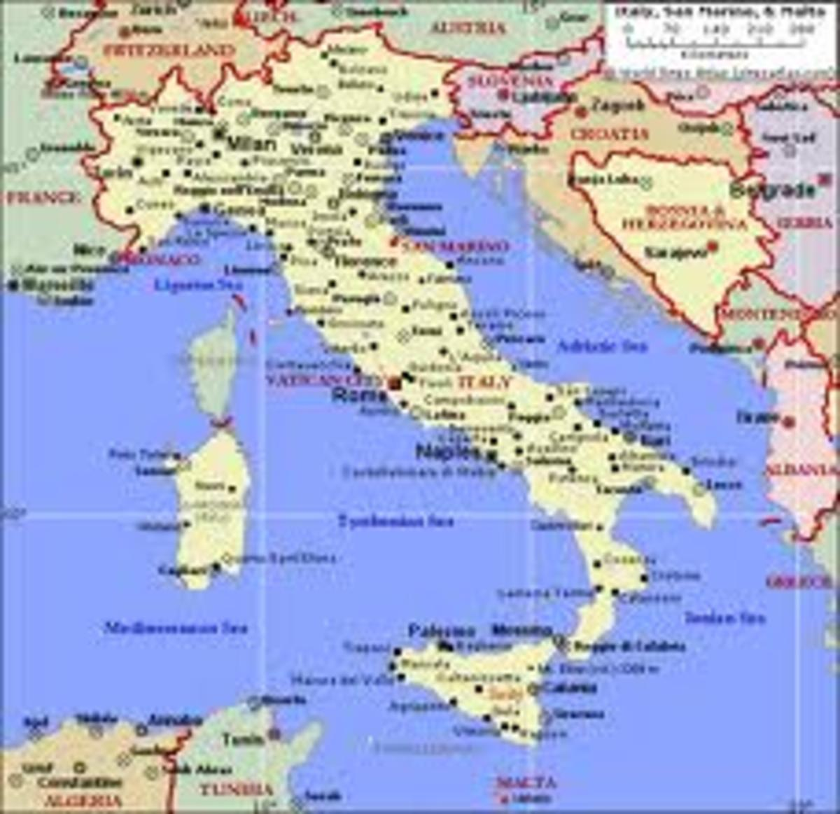 Map of Italy, I was born in southern Italy and embarked at Naples to go to Australia.