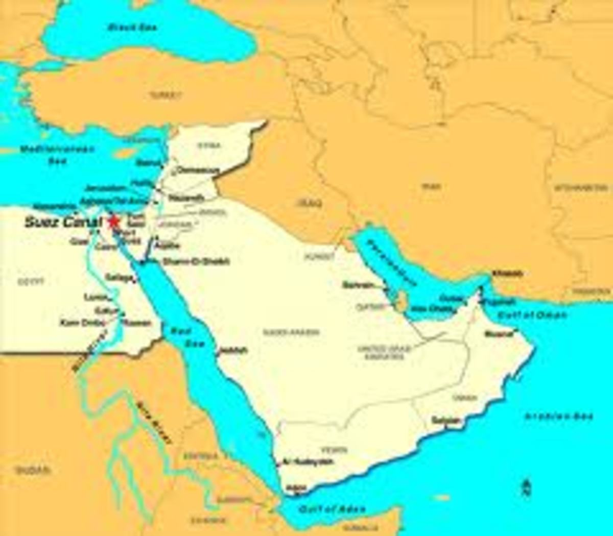 Suez Channel and the Red Sea and Aden Yemen