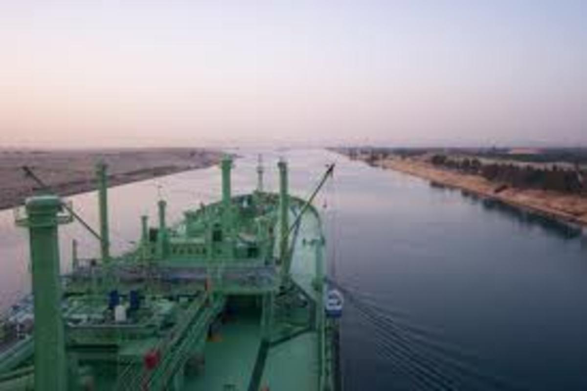 A ship navigating The Suez Channel