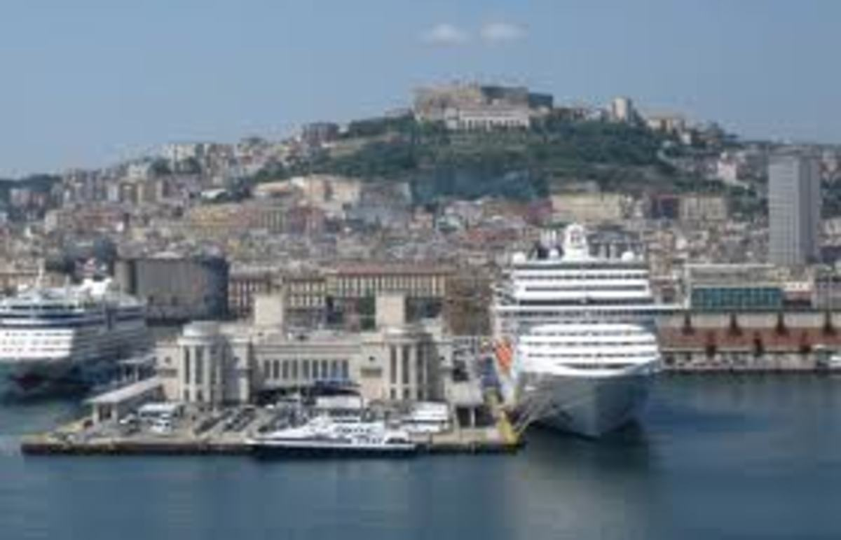Ship docked in the port of Naples waiting to sail somewhere, this is one of the last sights one remember all life long.