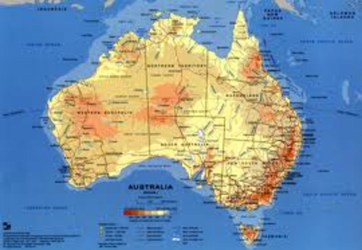 Map of Australia, the new far away land with many future promises for new comers. We arrived in Australia at Fremantle WA.