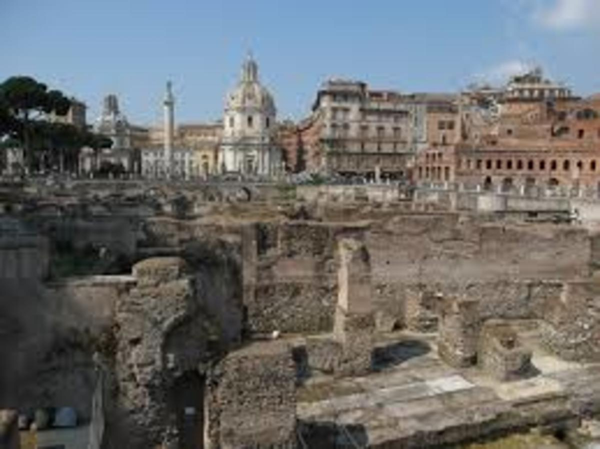 The ancient Roman Forum, Today it is only an old place, but let us try to imagine what it was like at the Roman time.