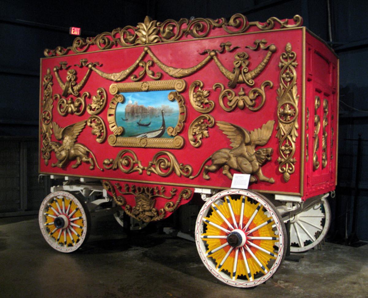Circus wagon at the Ringling estate.