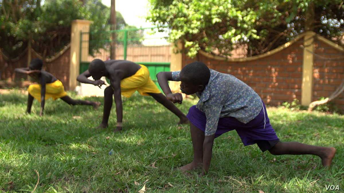 Courtesy of Z.Baddorf/VOA.  Orphans from the Central African Republic practicing capoeira.  Rather than doing it to learn fighting, its being used as a therapy to handle their traumas and PTSD of the 2013-14 war.