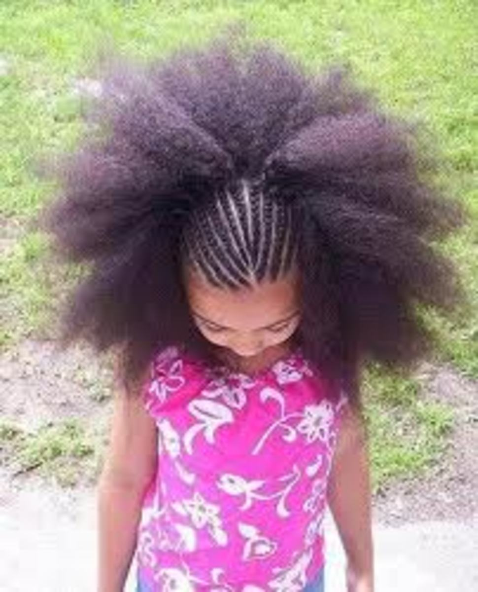 African American Natural Hairstyles for Children - Braid Out Cornrows
