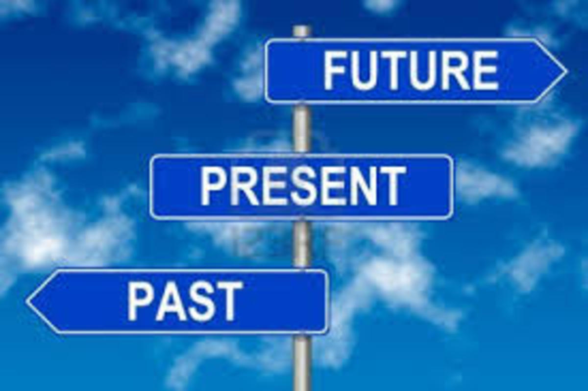 We come from the past, we are living at this present  time here and now; and we are waiting for the beginning of a new Era, that is according to our present view point where we are standing now, this new Era could be religious and otherwise.