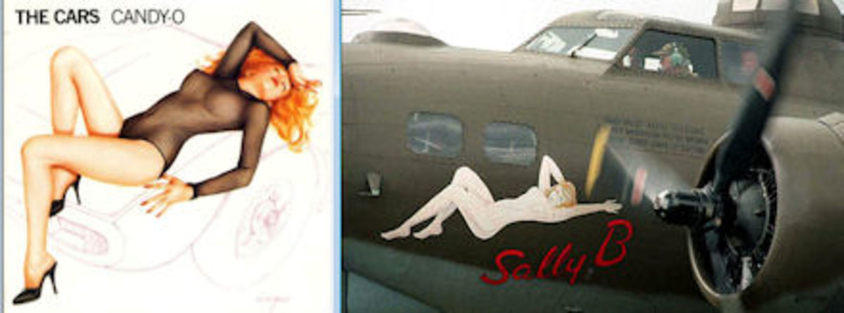 In later years, Vargas came out of retirement and did a record cover for The Cars using a similar pose to his original work that was an inspiration for WWII bombers. Image credits: Left: record cover, Amazon.com Right: http://www.398th.org