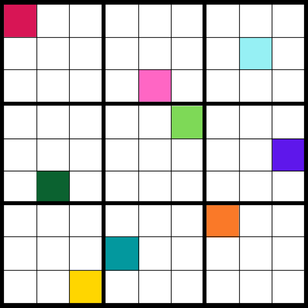 You solve color sudoku puzzles the same way as regular sudoku, except you use colors instead of numbers.