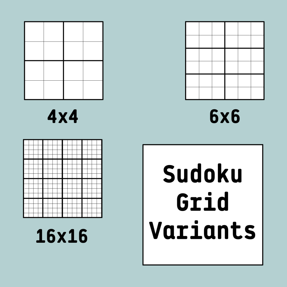 Here are a few of the grid variants you might find for sudoku puzzles.