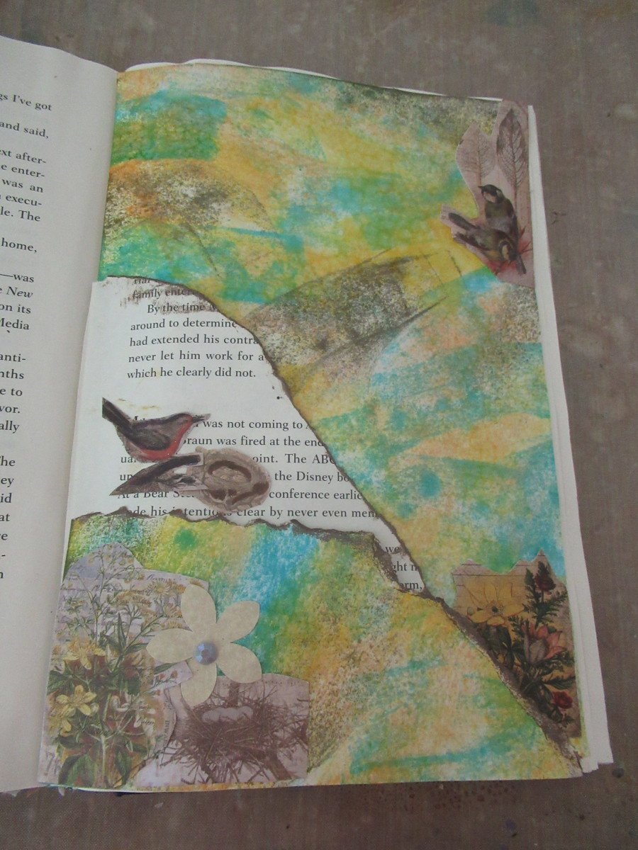 You can create layered pockets on your junk journal pages by ripping papers and gluing them onto the page.