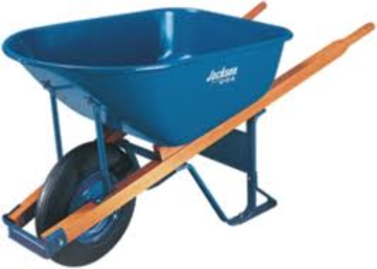 This is a new wheelbarrow, today wheelbarrows are light and well made and easy to use compared to the old wheelbarrows, that were made of steel or even just timber.